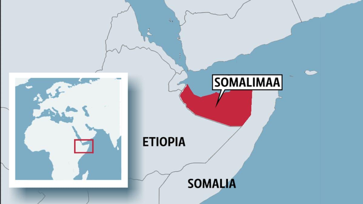 Kartta, jossa Somalimaa