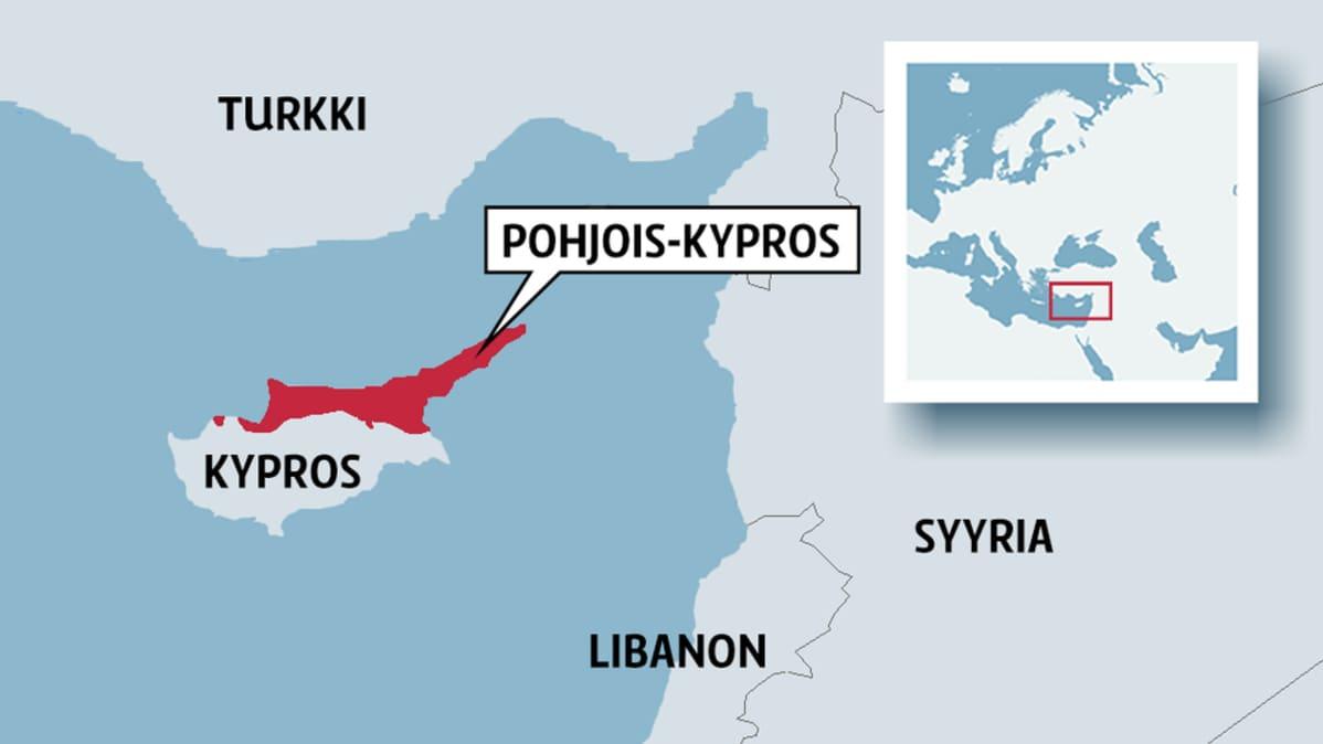 Kartta, jossa Kypros ja Pohjois-Kypros.