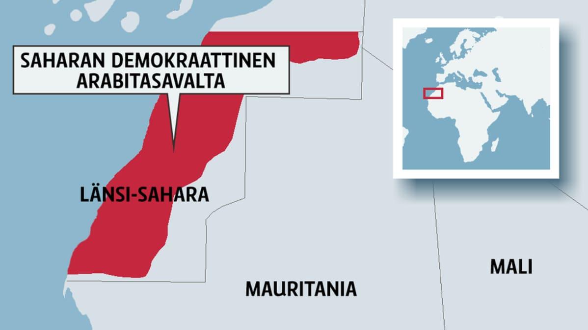 Kartta, jossa Saharan demokraattinen Arabitasavalta