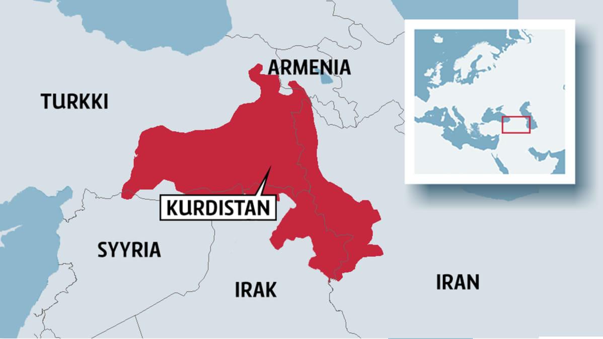 Kartta, johon merkitty Kurdistan.