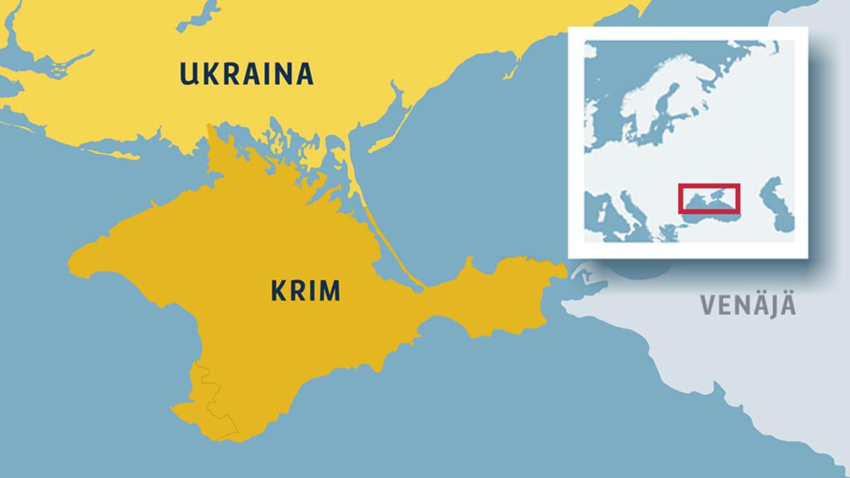Kartta jossa Krimin niemimaa.