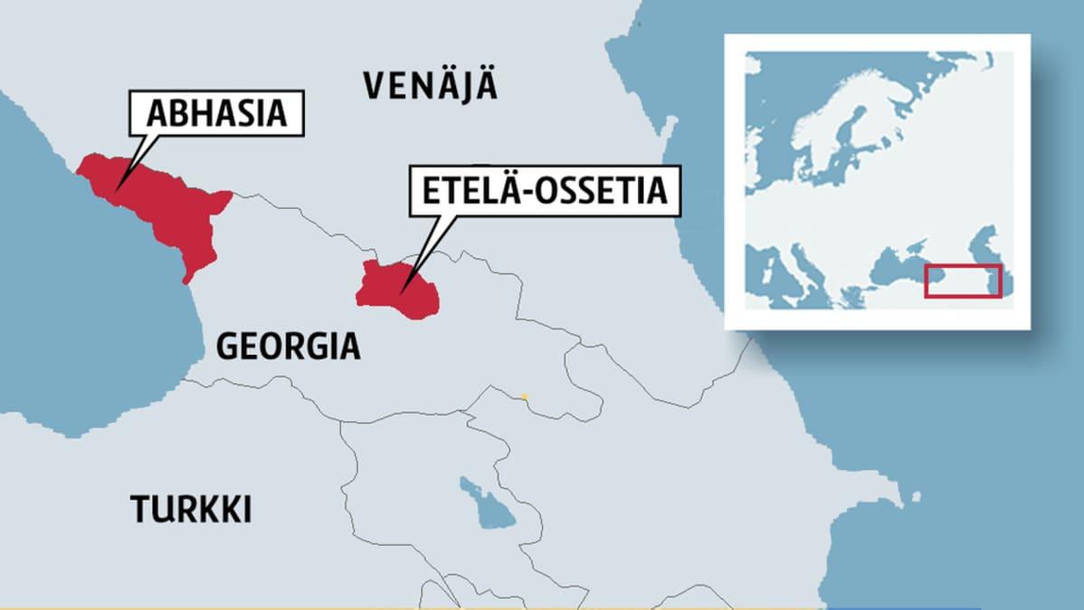 Karttaan merkitty Abhasia ja Etelä-Ossetia
