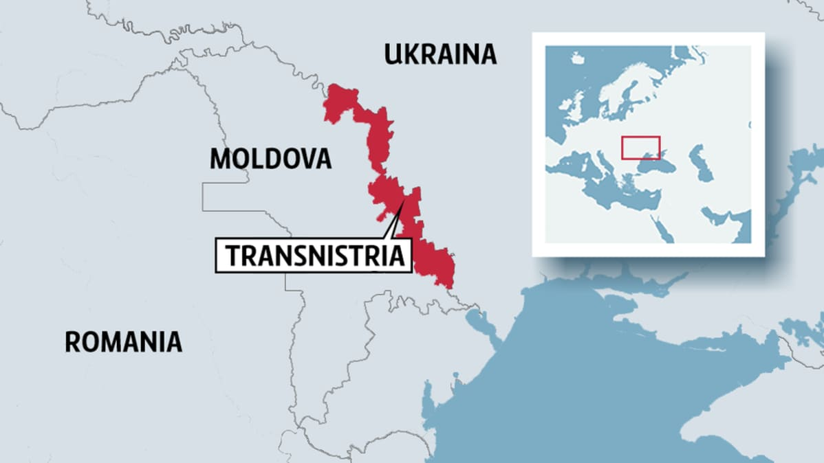 Kartta, johon merkitty Transnistrian alue.