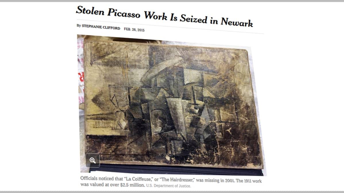 """Kuvakaappaus New York Timesin nettisivuilta Picasson teoksesta """"Coiffeuse""""."""