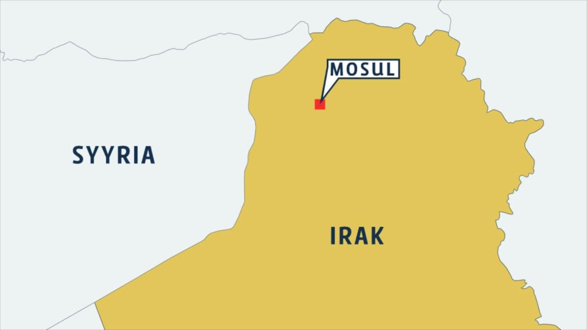 Kartta Mosulin sijainnista.