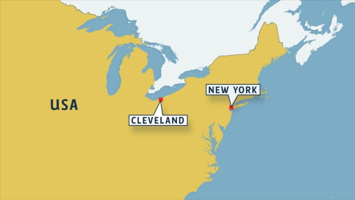 Kartta Clevelandin sijainnista.