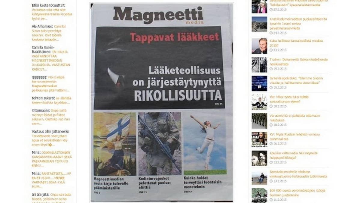 Kuvakaappaus Magneettimedian verkkosivuilta.