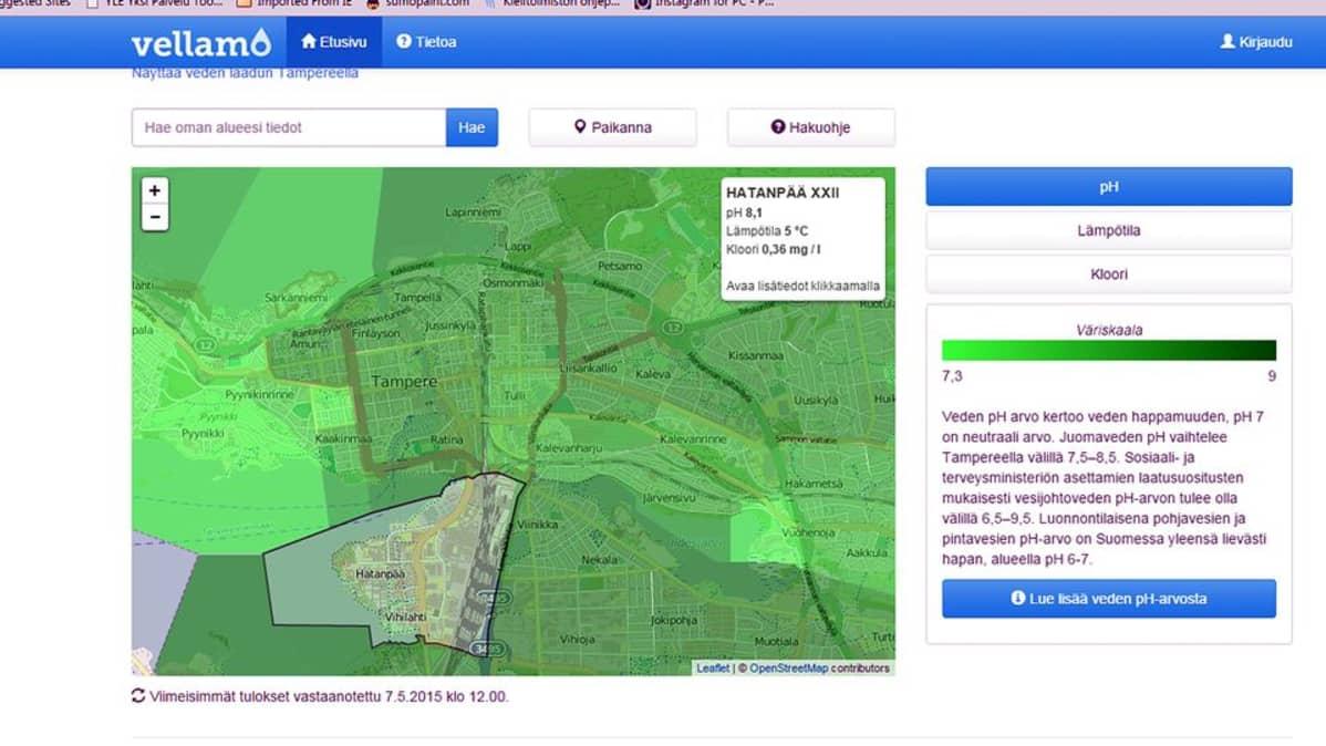 Ruutukaappaus veden laatutietoja paikkatiedon avulla näyttävästä verkkopalvelusta
