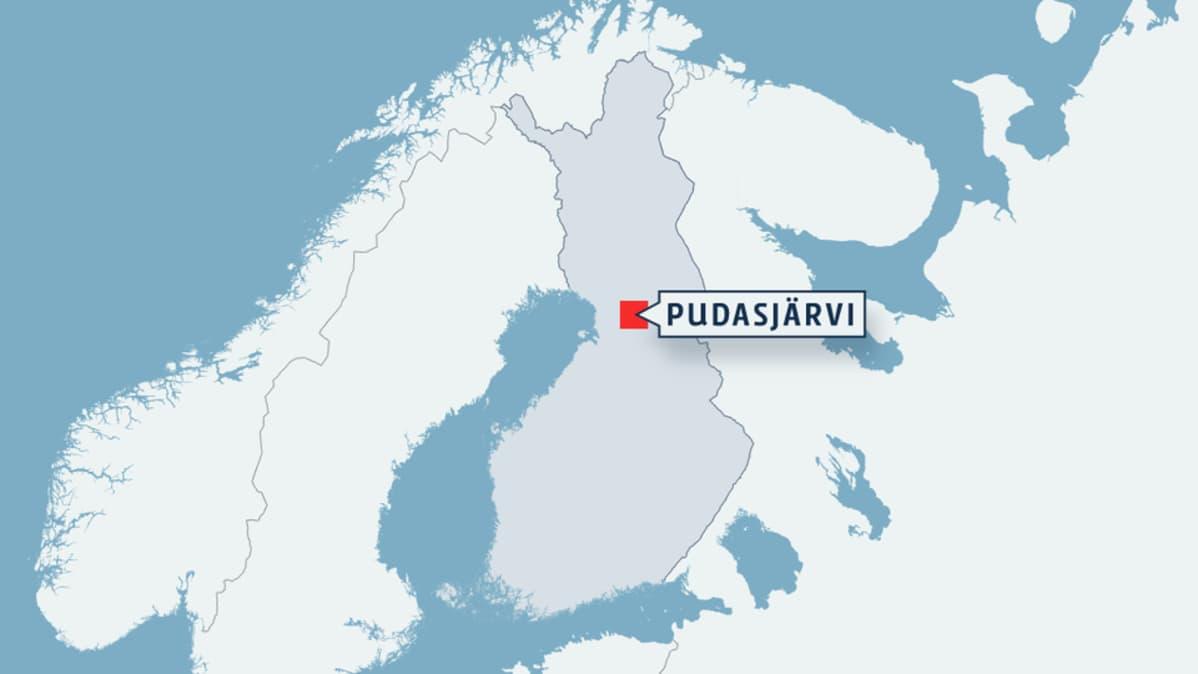 Kartta Pudasjärven sijainnista.