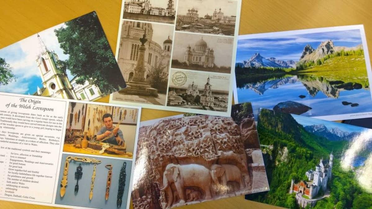 Kuusi postikorttia ulkomailta