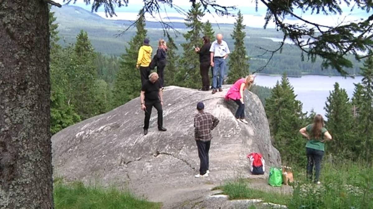 Joukko turisteja kallion päällä Kolin kansallispuistossa.
