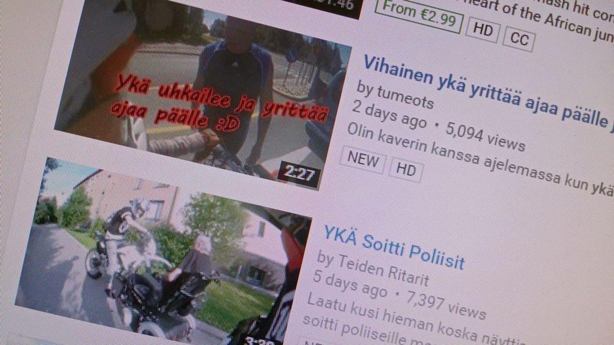 Mopoilijoiden kuvaamiia ykä-videoita YouTube-sisustolla