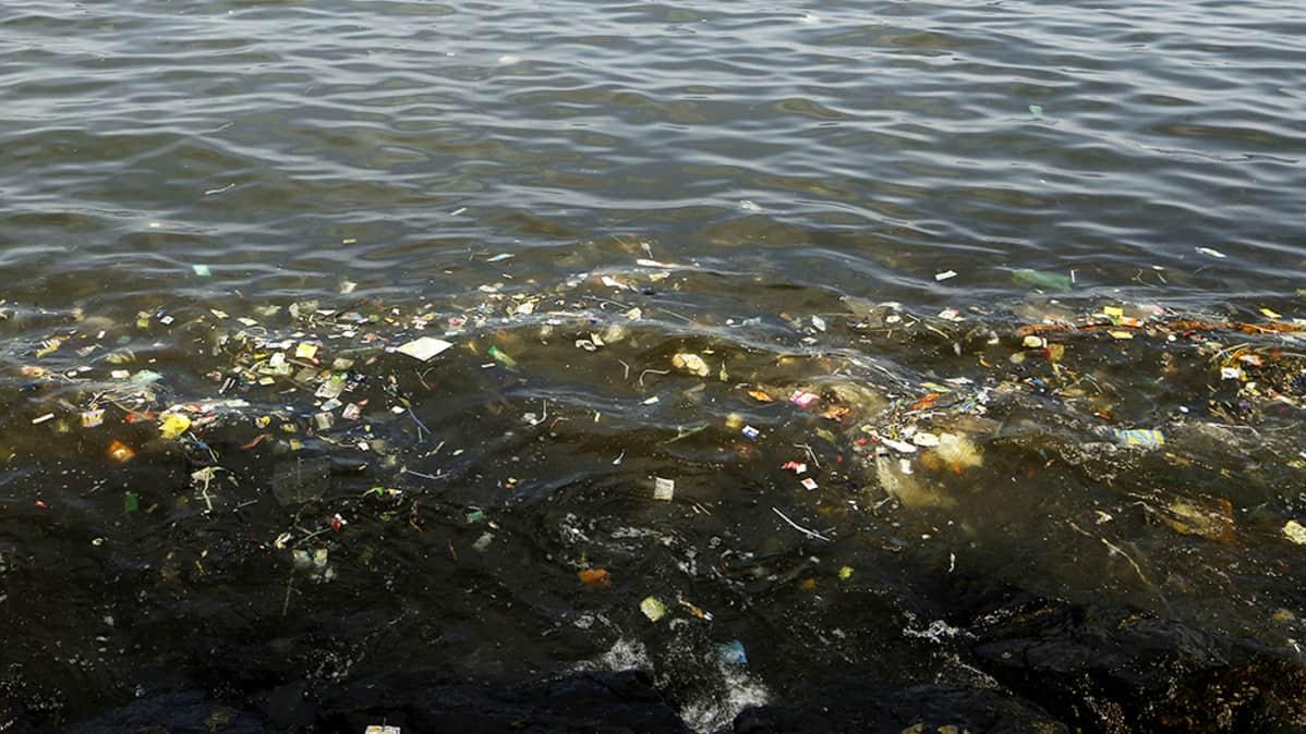 Muovijätettä kelluu merivedessä.