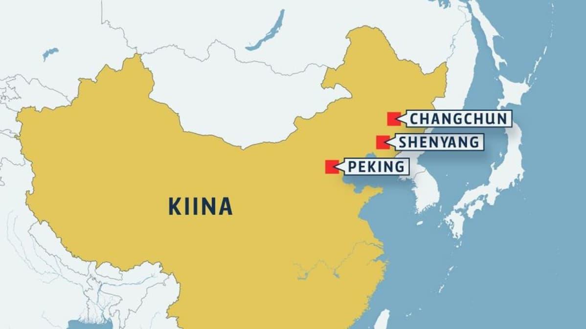 Kiinan Paakaupunki Kartta Kiina Capital Kartta Ita Aasia Aasia