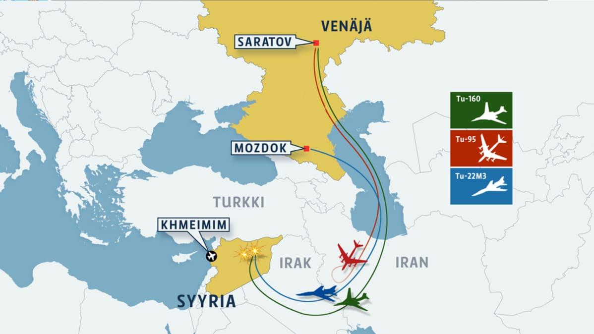 Pommituslennot Syyriaan-kartta