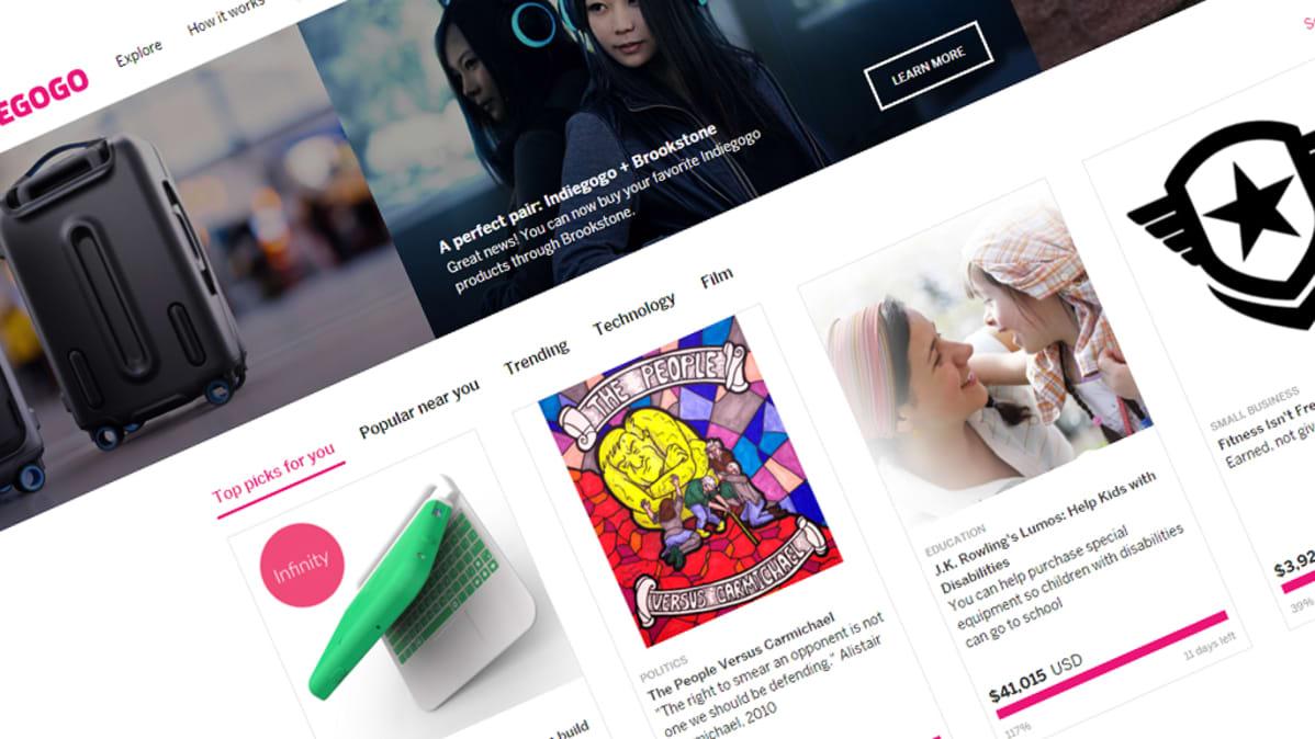 Indiegogo-sivuston etusivu