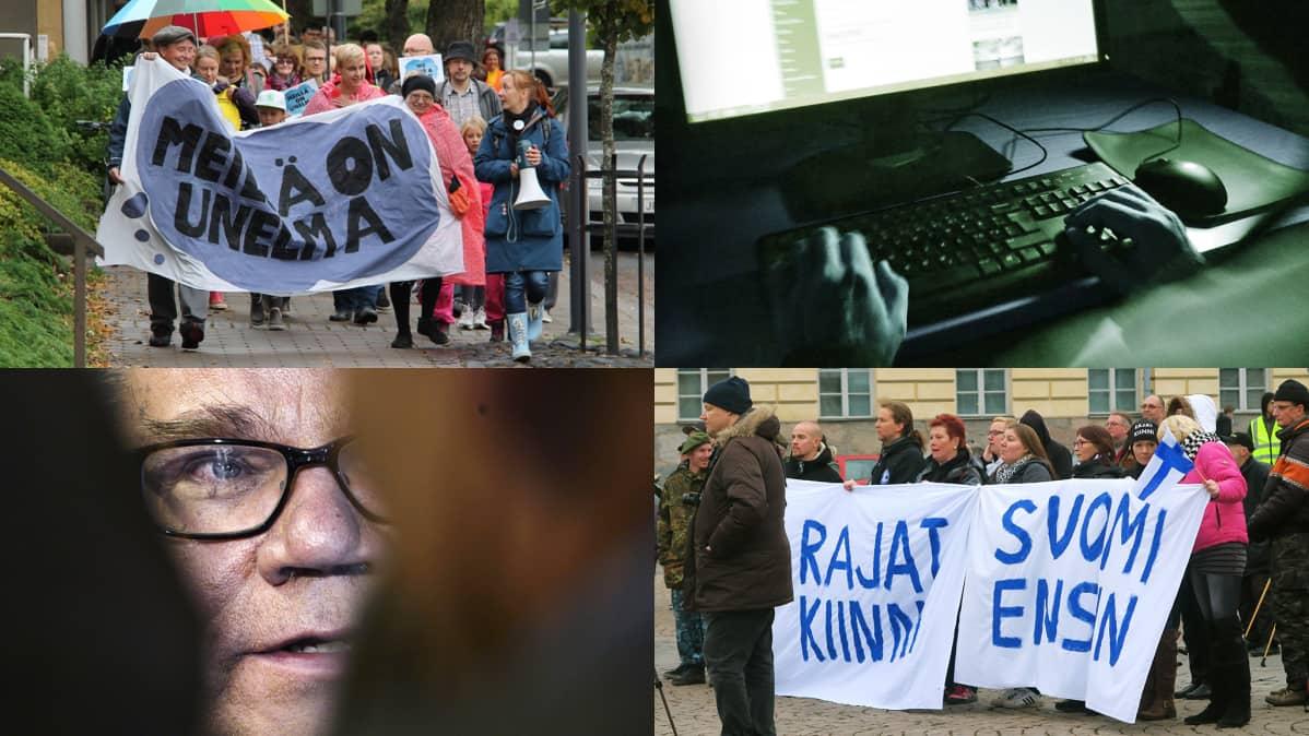 Kuvakombo, jossa mielenosoituksia, nettikirjoittellija ja Timo Soini.
