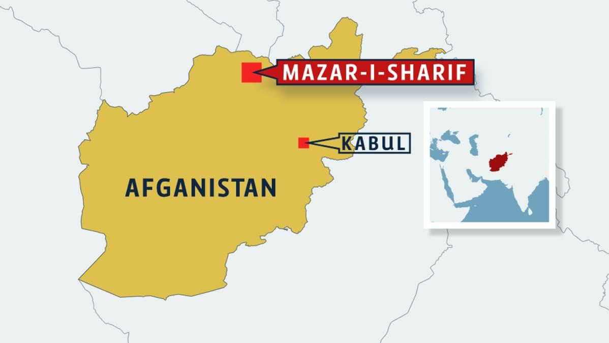 Afganistanin kartta, jossa Mazar-i-Sharif ja Kabul.