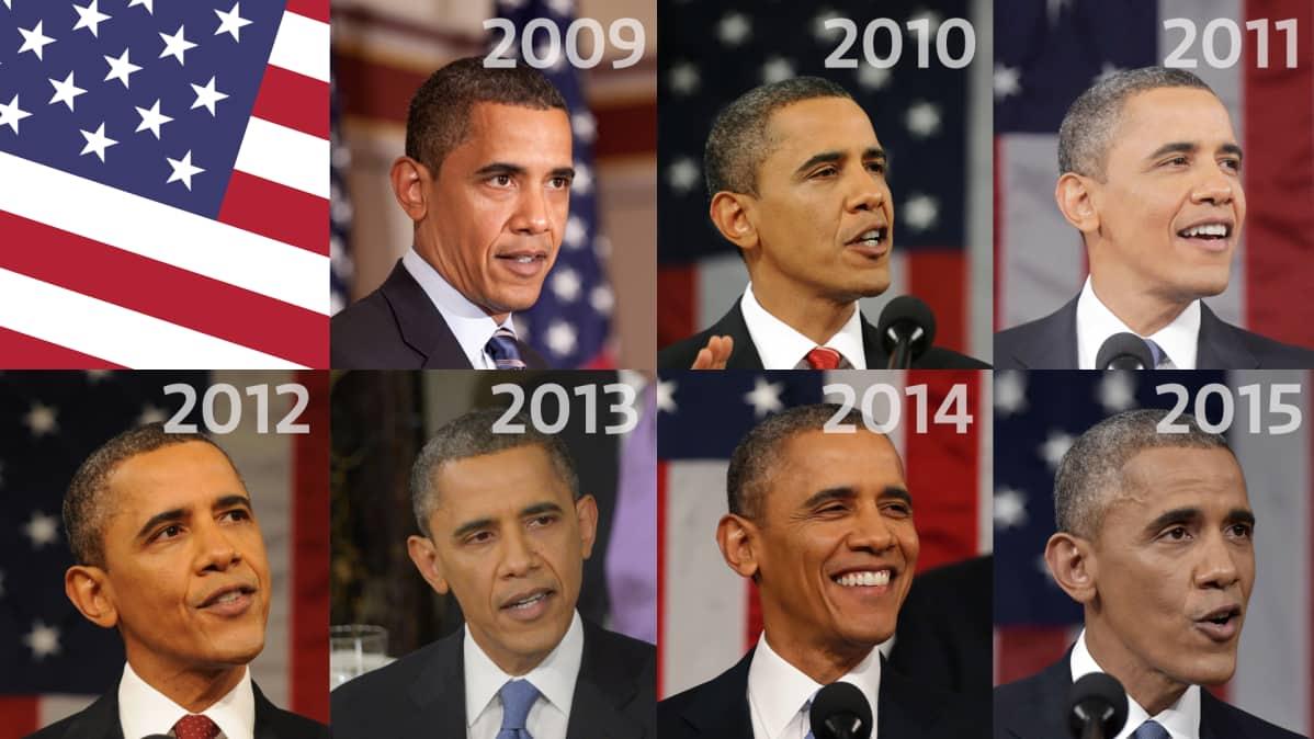 Kuvasarja Barack Obamasta vuosilta 2009-2015