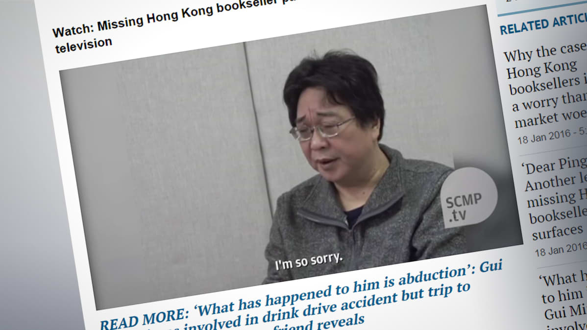 Kuvakaappaus kustantaja Gui Minhaista South China Morning Postin -nettisivustolta.
