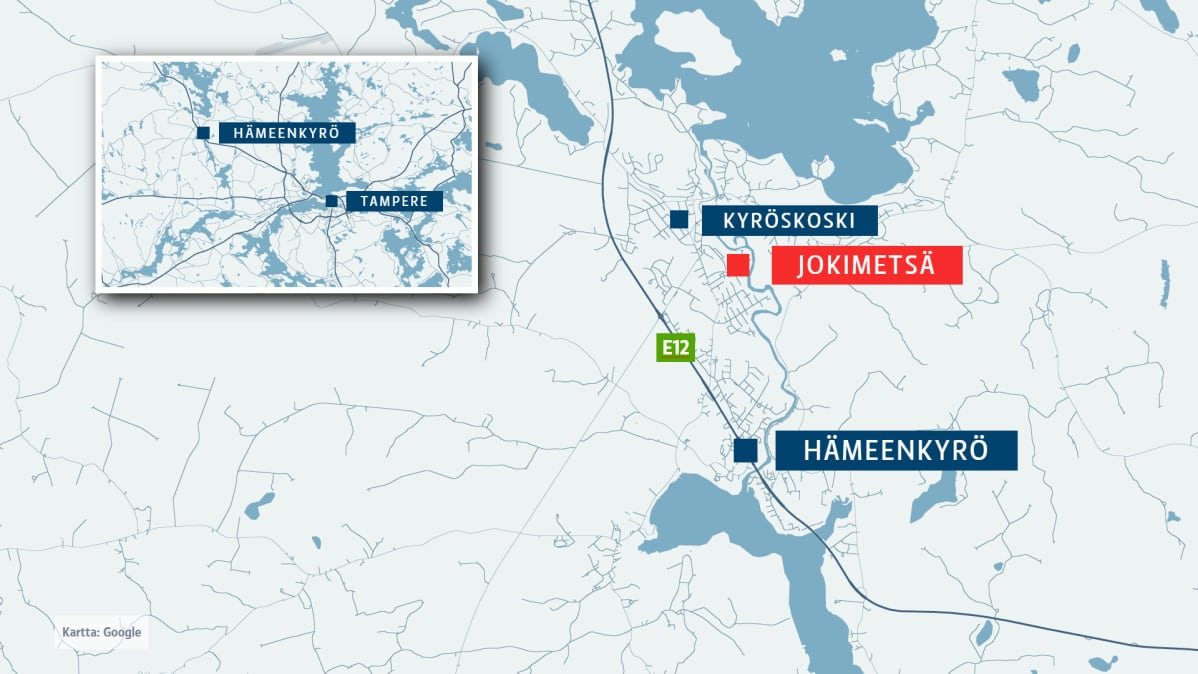 Karttakuvassa Kyröskosken Jokimetsä, jossa polttopulloisku sunnuntaina tapahtui.