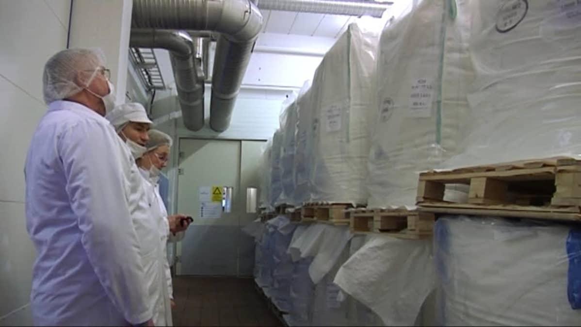 Herasäkkejä Kuusamon Juuston tehtaalla.