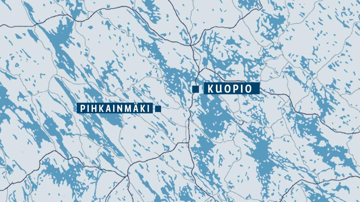 Kartta jossa näkyy Kuopio ja Pihkainmäen kylä