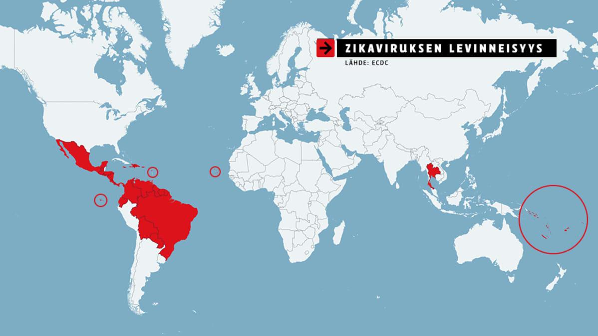Kartta Zikaviruksen levinneisyydestä.