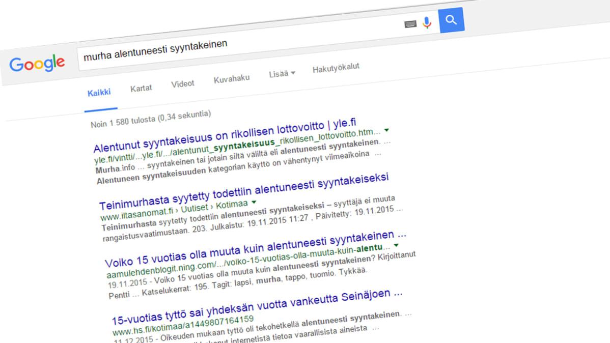 Kuvakaappaus Google hausta.