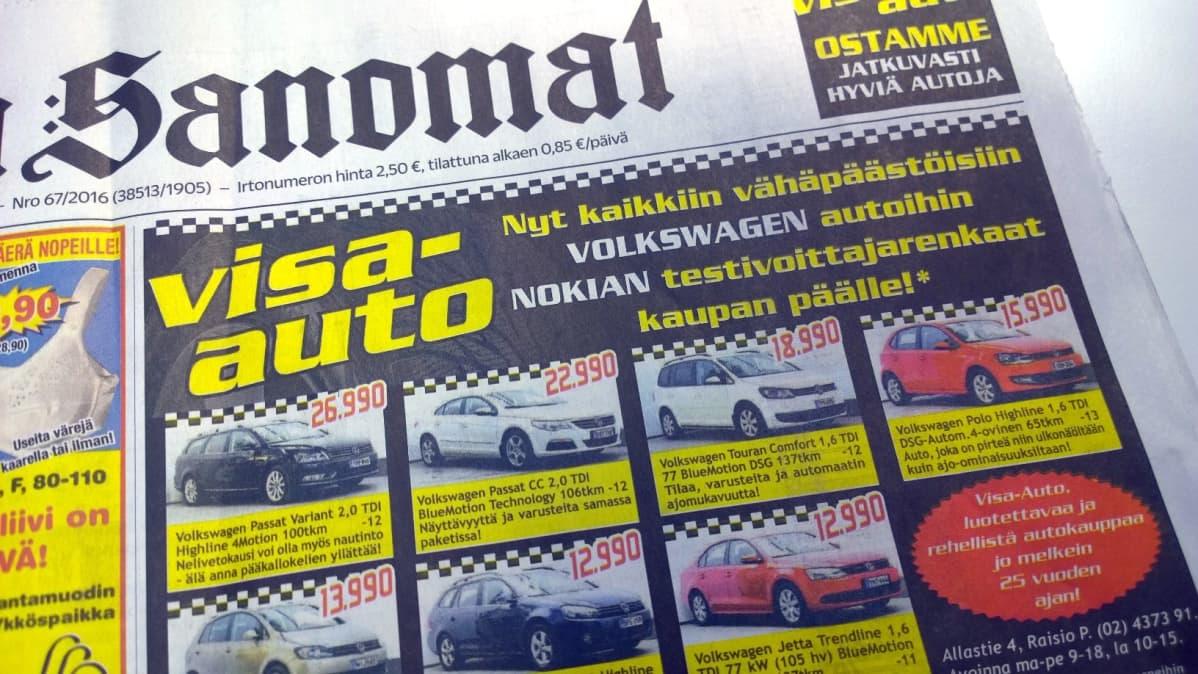 Visa-auton mainos Turun Sanomissa tiistaina 8. maaliskuussa 2016.