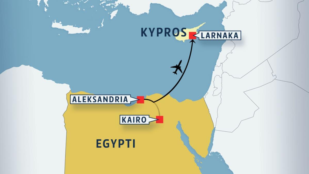 Kartta, jossa Egypti ka Kypros.