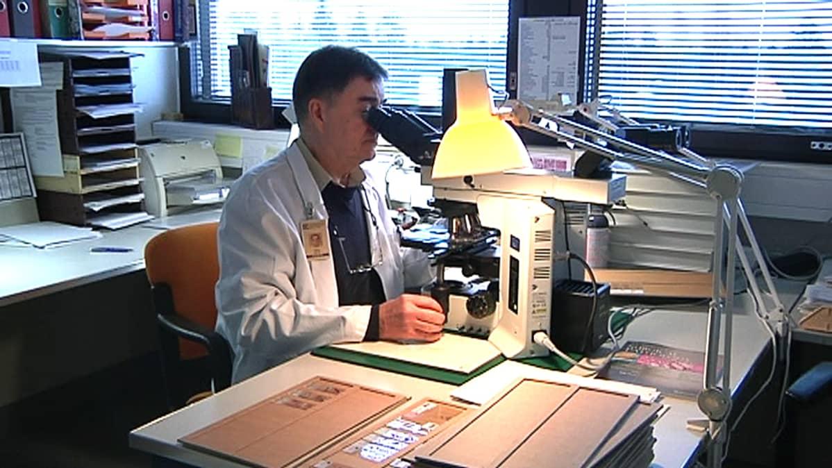 Ylilääkäri Tapio Vartio patologian yksiköstä Seinäjoen keskussairaalasta tutkii kudosnäytteitä.
