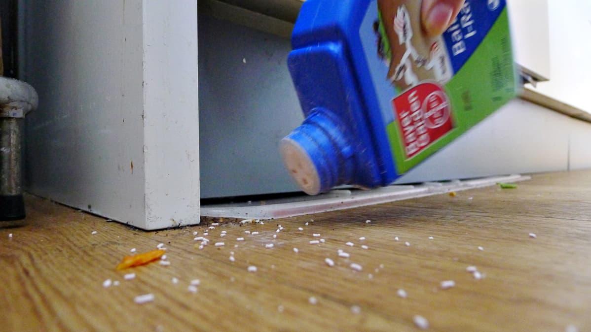 Karkoitetta sirotetaan muurahaisten sisääntulopaikalle.
