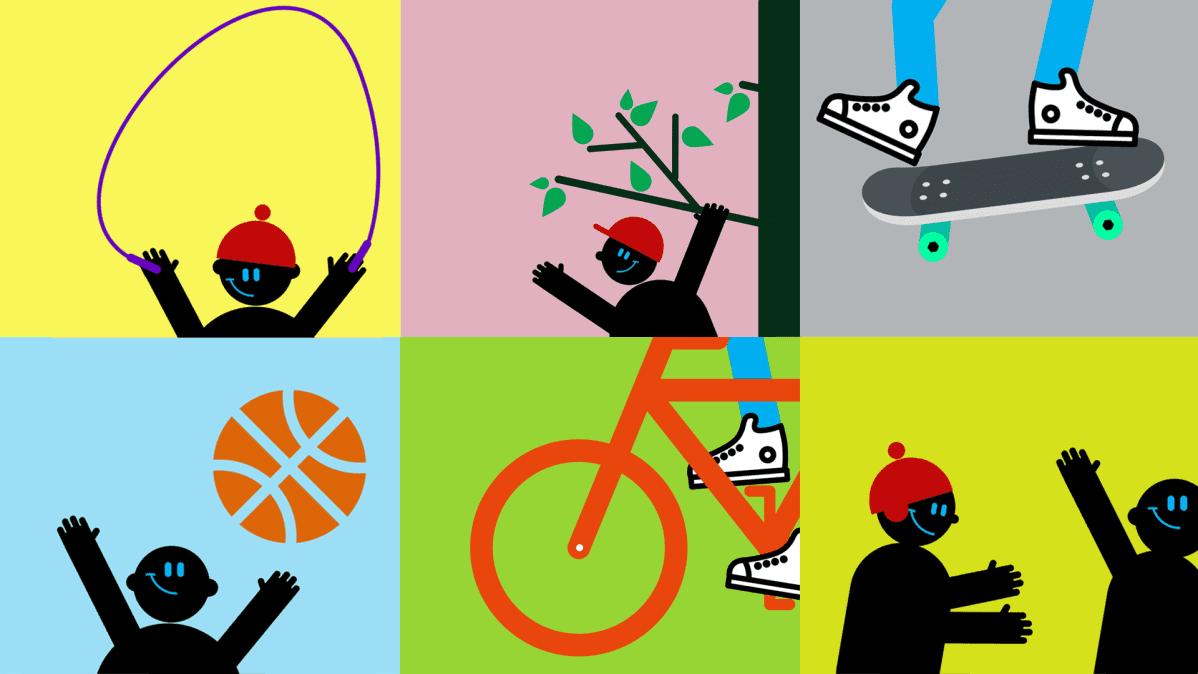 Kuvitus lasten liikunta: kaikki lajit