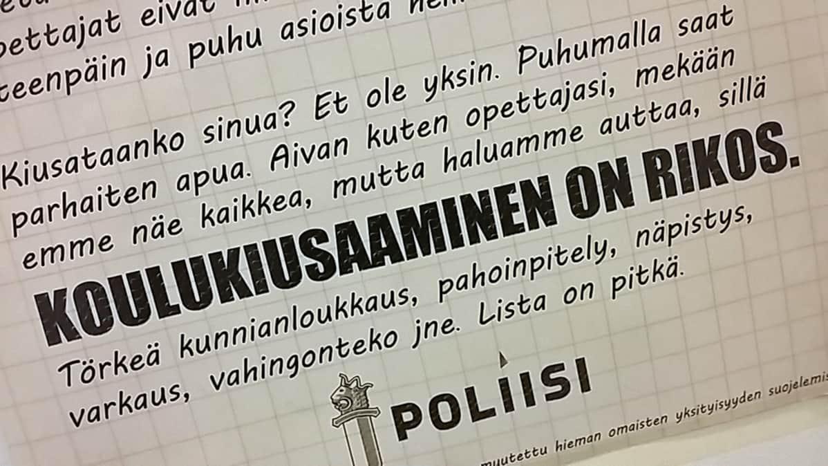 Poliisin juliste, jossa todetaan koulukiusaamisen olevan rikos