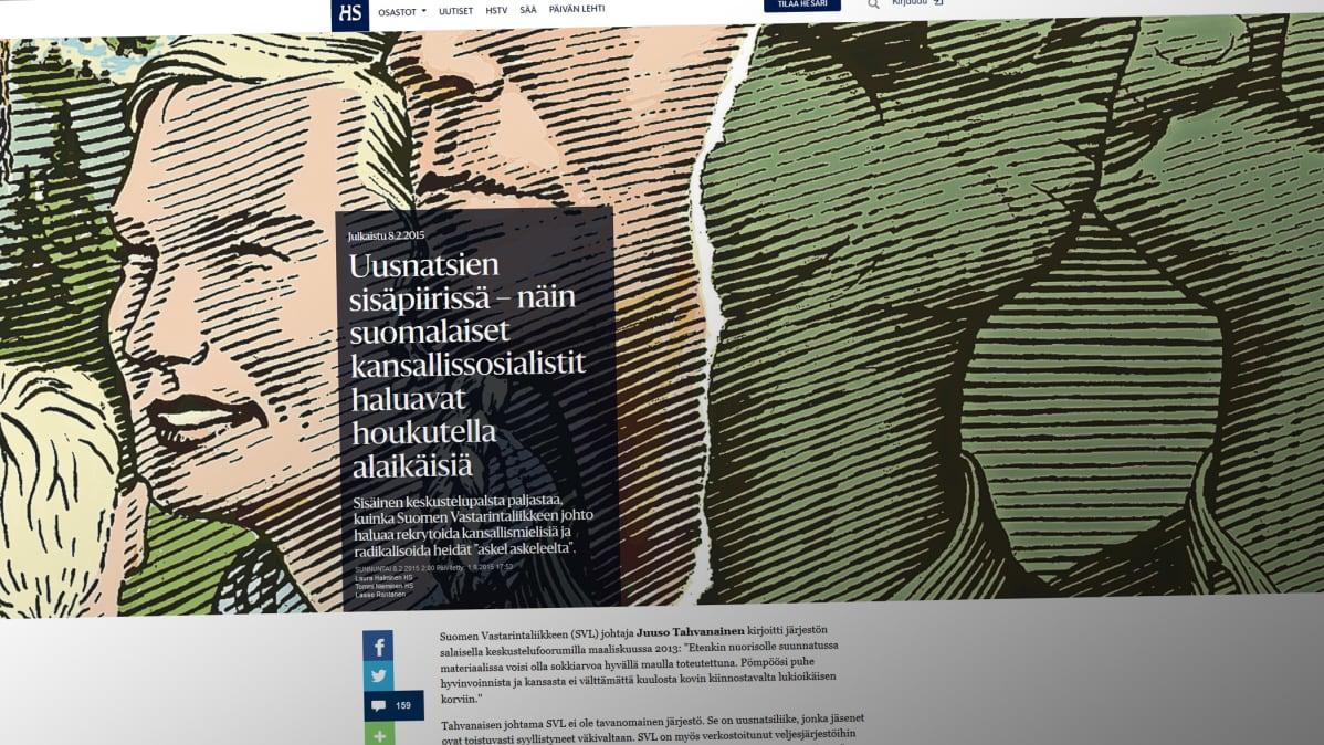 Kuvakaappaus Helsingin Sanomien jutusta.