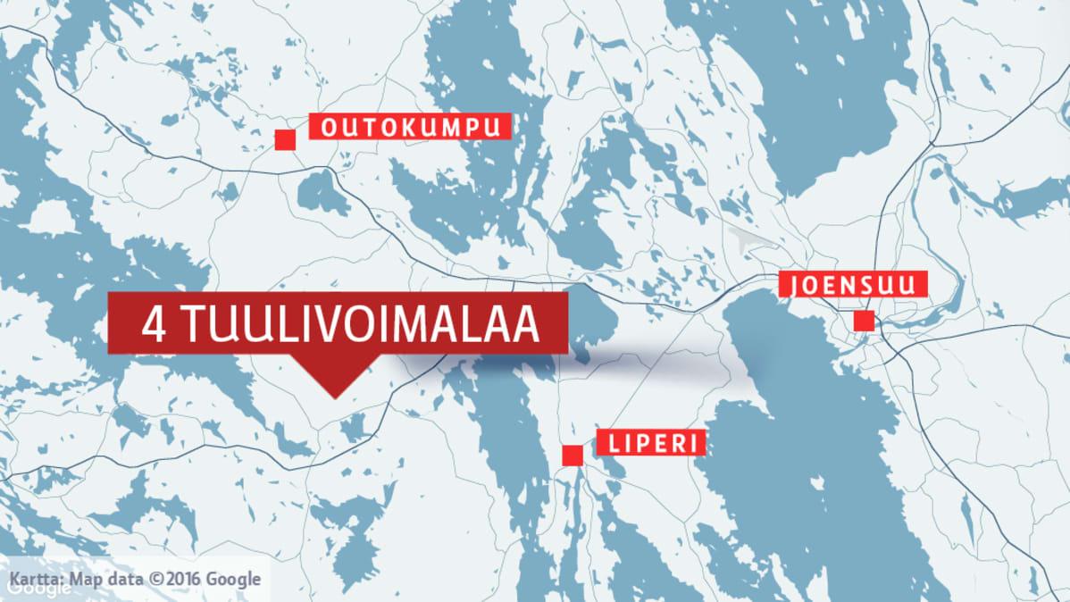 Kartta, johon merkitty tuulivoimaloille kaavailtu paikka.