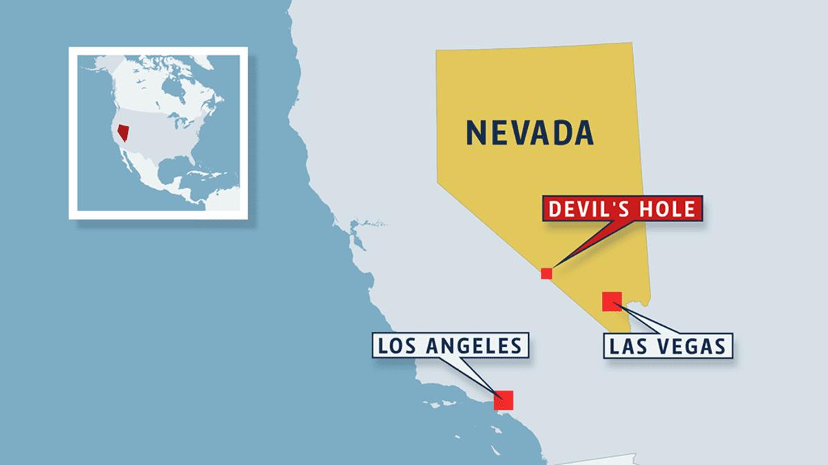 Devil's Holen sijainti Nevadassa Yhdysvalloissa