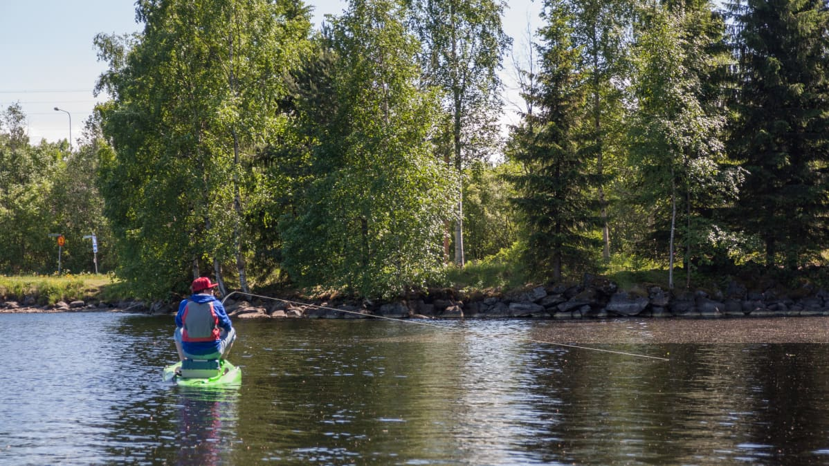 Kajaanilainen SUP-yrittäjä Jyrki Vahlamo kalastaa laudalla.