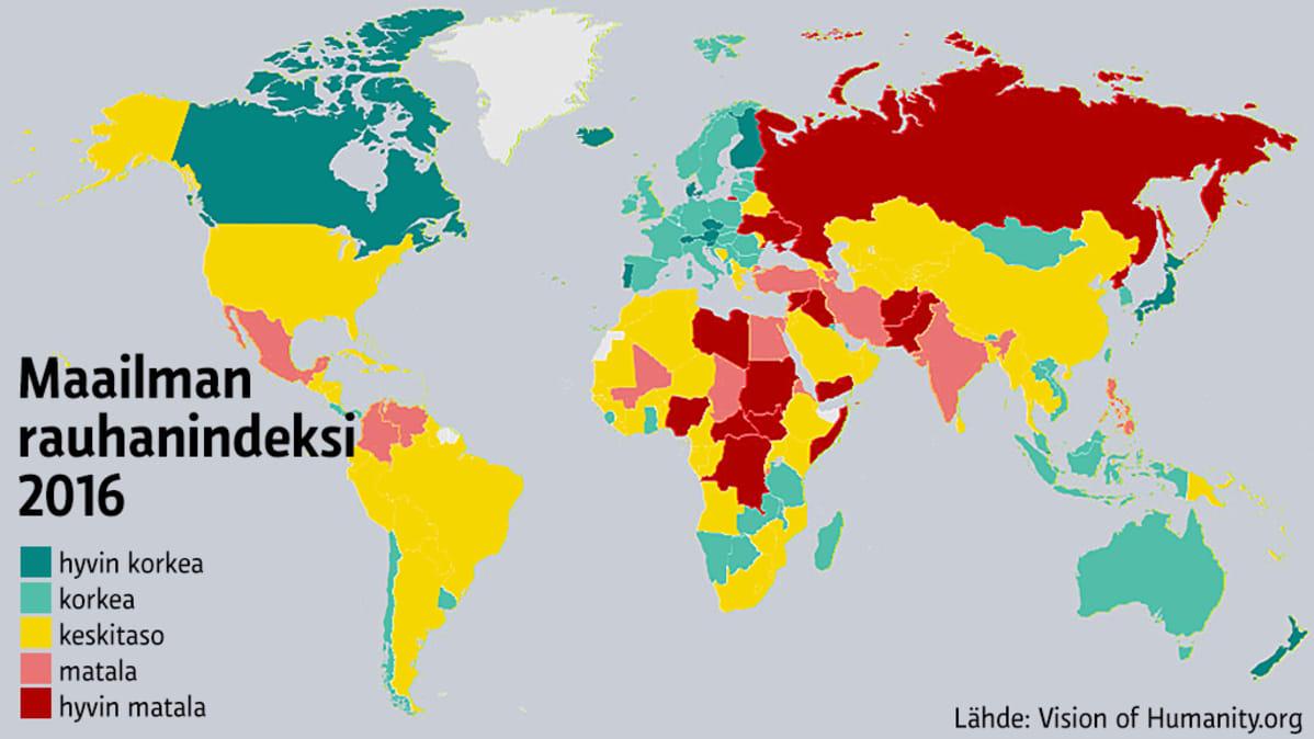 Rauhanindeksi Maailmassa Vain 11 Taysin Rauhallista Maata Suomi