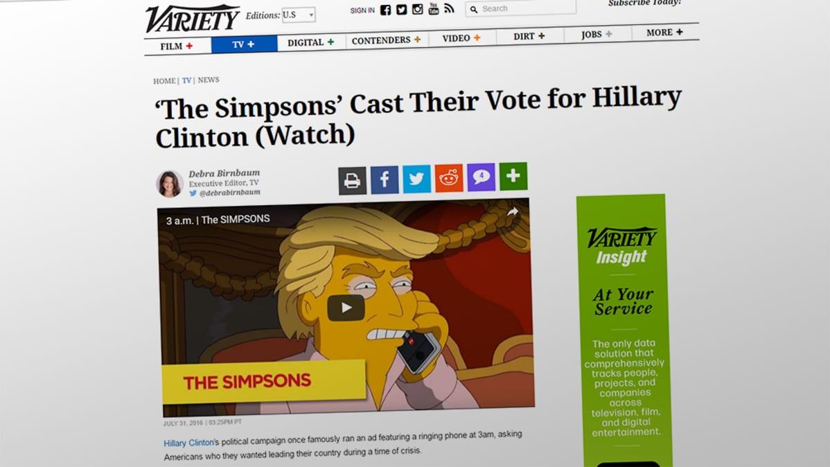 Kuvakaappaus Varietyn nettisivusta.