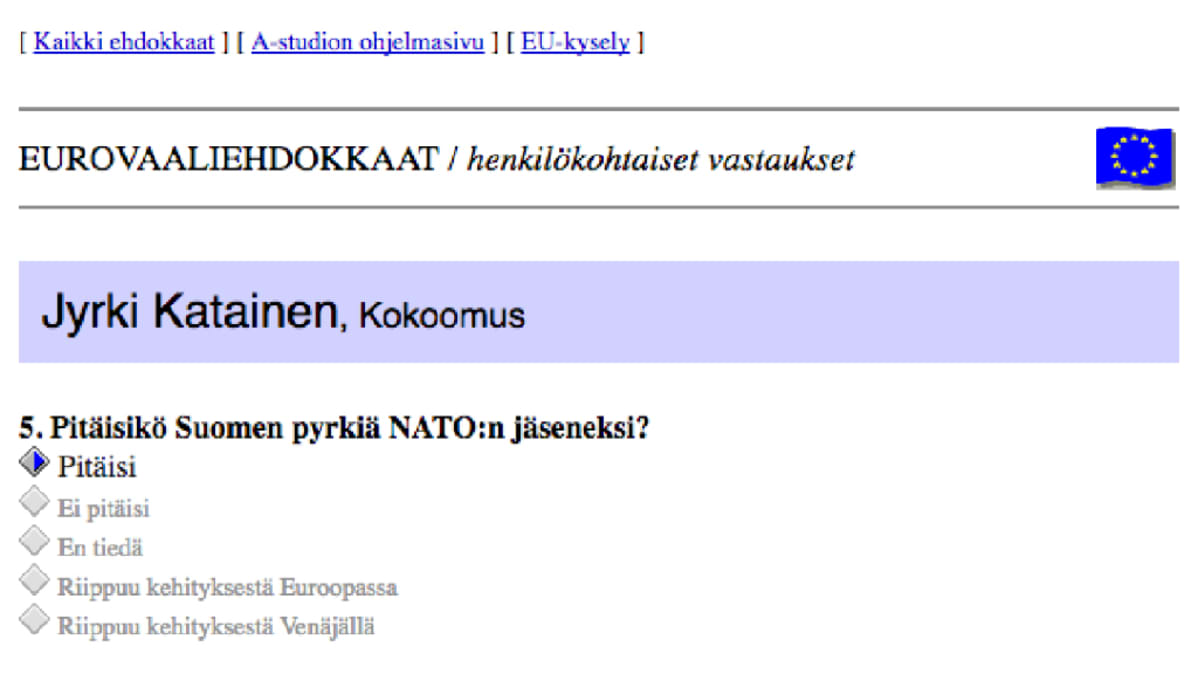 Kuvakaappaus Jyrki Kataisen vastauksesta kysymykseen; Pitäisikö Suomen pyrkiä NATO:n jäseneksi?