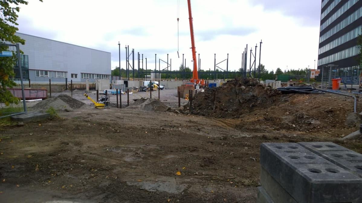 Turun palloiluhallin rakennustyömaa