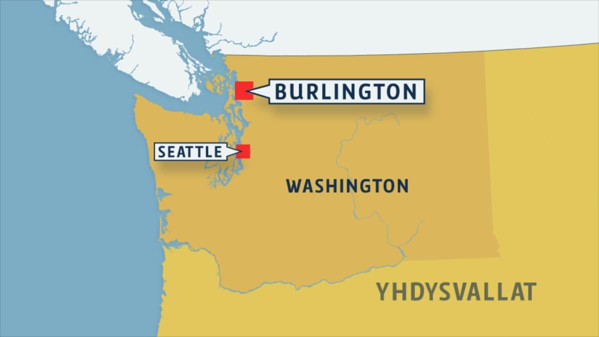 Burlington sijaitsee noin sata kilometriä Seattlen pohjoispuolella.