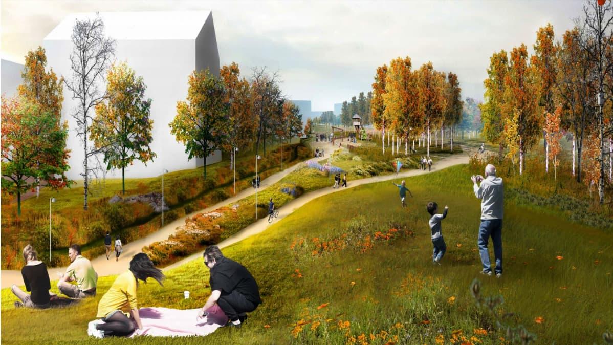 Maisema-arkkitehtikilvan Halaus -työn näkemys tulevasta Kankaanpuistosta.