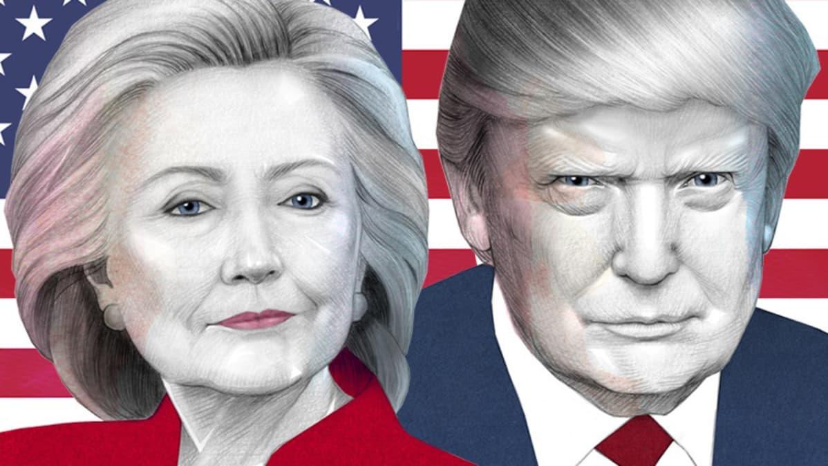 Piirroskuvitus, jossa Hillary Clinton, Donald Trump ja Amerikan lippu.