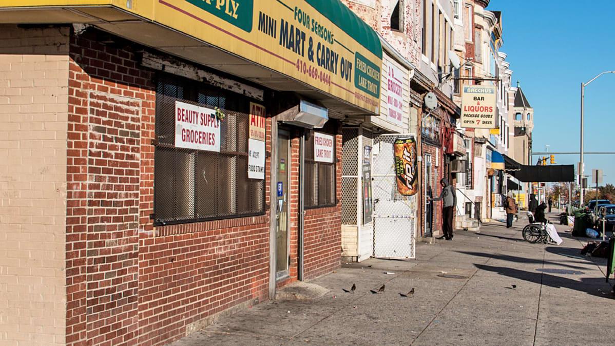 Näkymä Baltimoren kadusta.