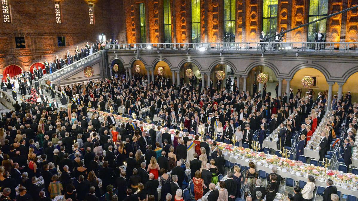 Nobel-juhla Tukholman kaupunginsalissa joulukuussa 2015.