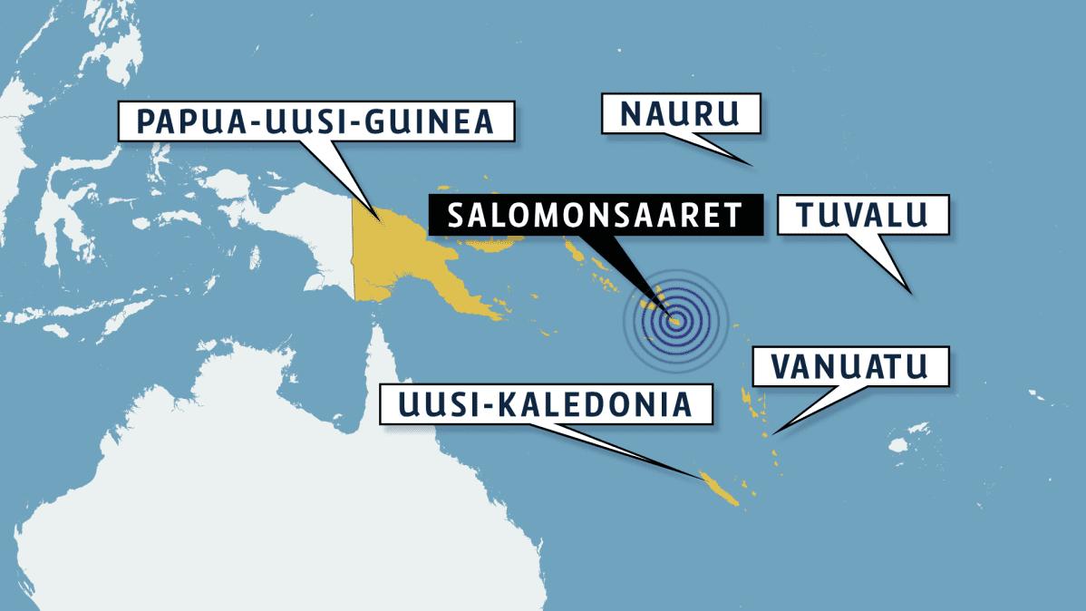 Salomonsaarien kartta.