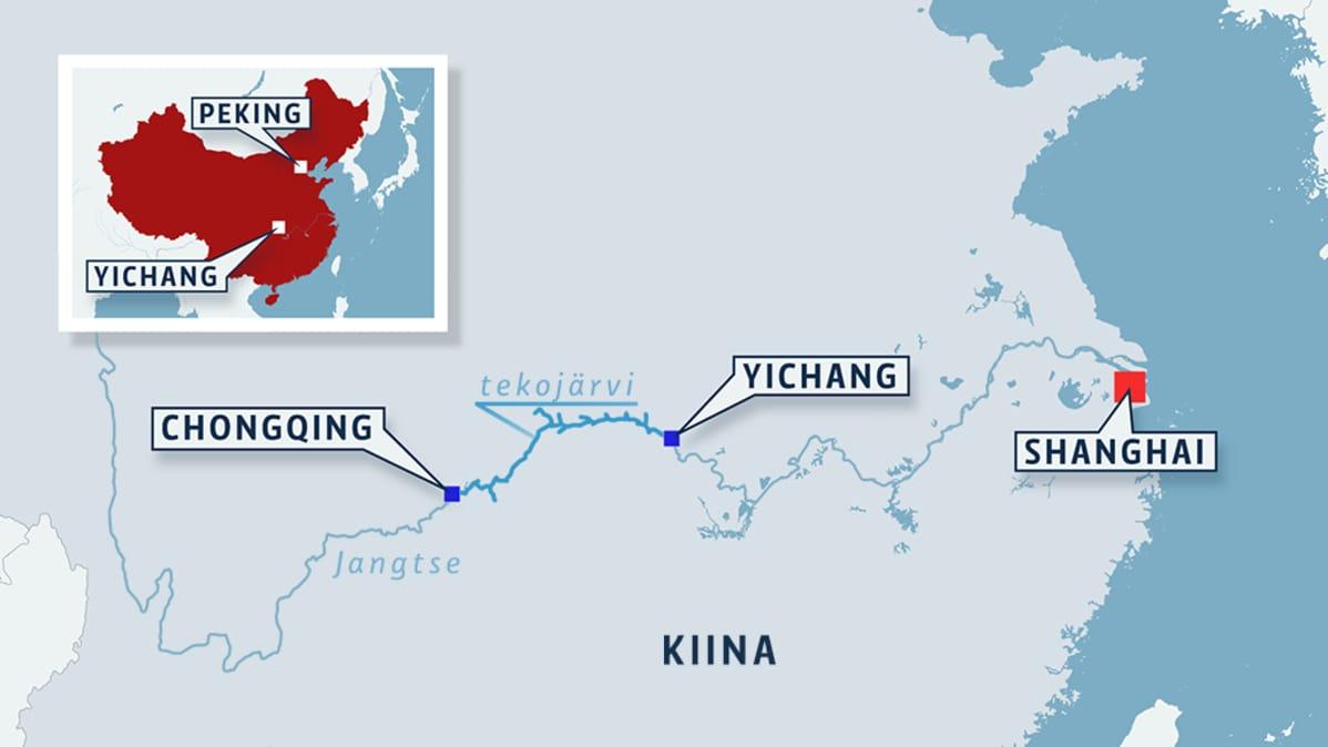 Kartta Kolmen rotkon padon sijainnista Yichangin ja Chongqingin välillä.